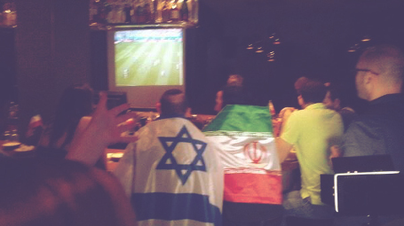 Fans in Tel Aviv during the 2014 World Cup with Israel and Iran flags. Photo: Sany Arazy