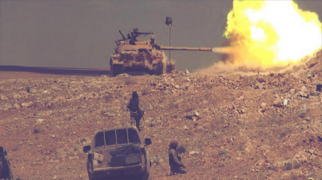 ISIS forces targeting Syrian army forces in Palmyra. May 2015
